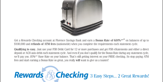 FSB Ad: A checking account so generous, you'll want to give us a toaster!