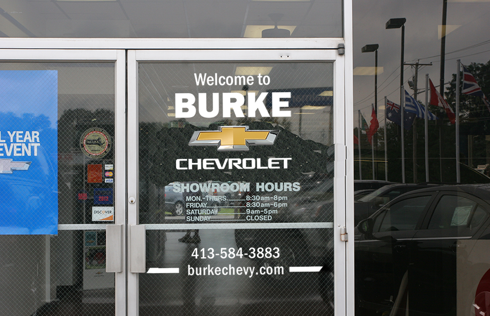 Burke Chevy- Window Sign