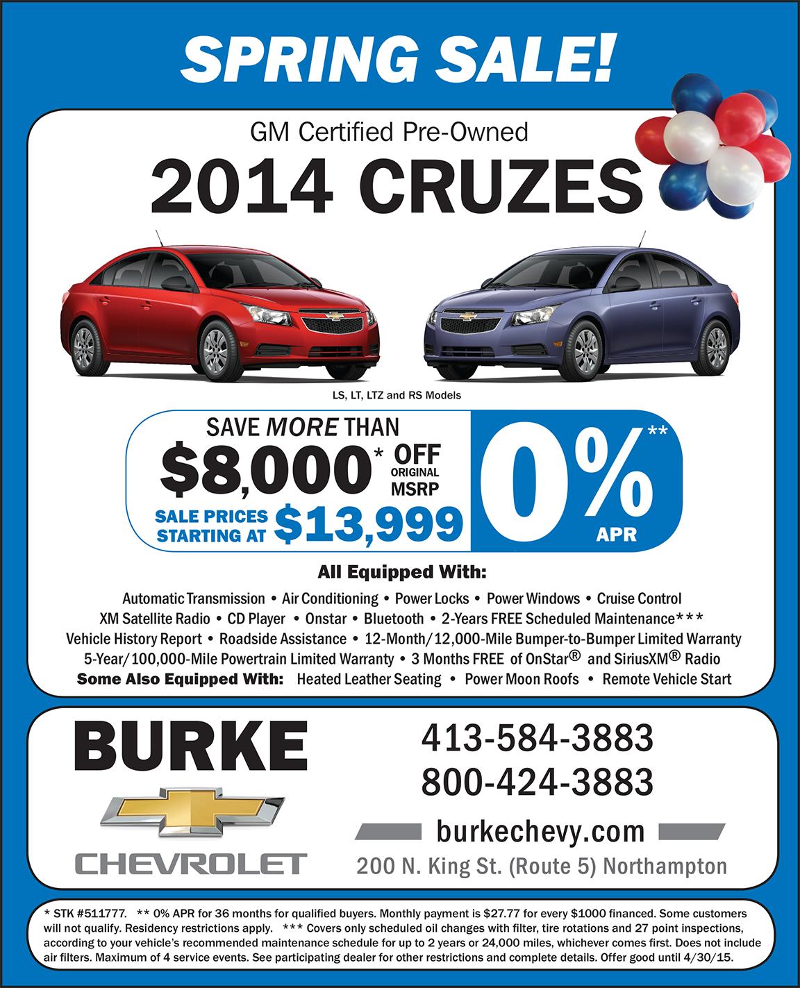 AD-Burke-Spring Sale Pre-OwnedCruz