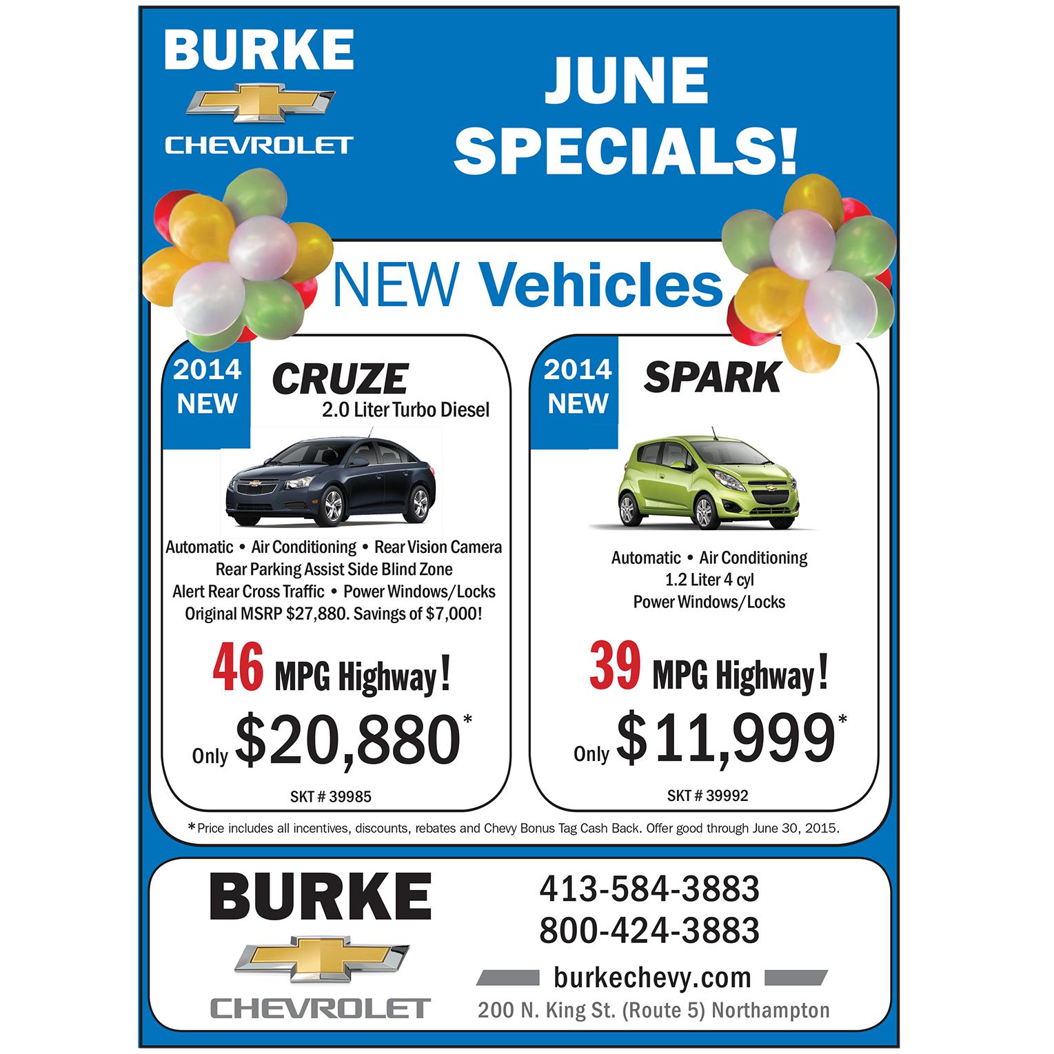 June 2015 Specials-2014 Cruze-Spark